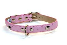 Bluemax Genuine Leather Ostrich Print Dog Collar with Pyramid Stud 34Inch by 14Inch Pink -- Check this awesome product by going to the link at the image. (This is an affiliate link and I receive a commission for the sales)
