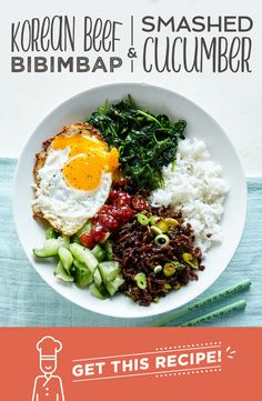 Bibimbap is a Korean classic and literally translates to 'mixed rice bowl'. Ours is topped with pickled smashed cucumber, beef bulgogi, spinach and a crispy fried egg. For traditional eating, mix all your veg, rice and egg yolk together. Asian Recipes, Beef Recipes, Cooking Recipes, Healthy Recipes, Ethnic Recipes, Healthy Food, Food Bowl, Quick Meals, Deserts