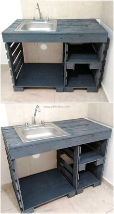 Household Things To Make Yourself With Wooden Pallets wood pallets sink plan Diy Pallet Furniture, Diy Pallet Projects, Wood Projects, Pallet Ideas, Furniture Ideas, Pallet Couch, Pallet Diy Decor, Pallet Furniture Instructions, Milk Crate Furniture