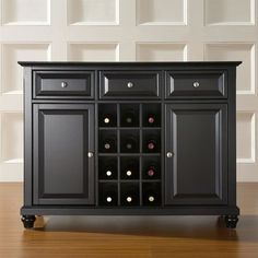 The smart design of this Black Dining Room Buffet Sideboard Cabinet with Wine Storage generates tons of smart space to tuck, organize and store your serving needs. This clever buffet showcases your. Buffet Server Table, Wine Buffet, Sideboard Cabinet, Server Cabinet, Black Sideboard, Liquor Cabinet, Cabinet Doors, Dining Buffet, Wine Table