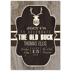 Rustic+Stag+Stripes+60th+Birthday+Invitations