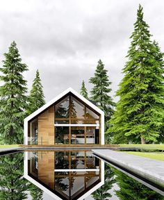 Bergen House by Alex Nerovnya and Sergey Domogatsky Modern Barn House, Modern House Design, Modern Cabins, House Roof Design, Future House, Design Exterior, Exterior Rendering, A Frame House, Dream House Exterior