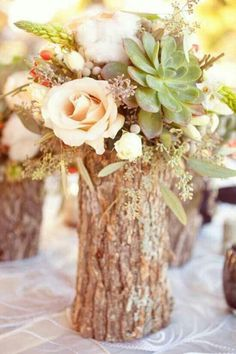 """Tree stump """"vases"""" filled with flowers as your fall wedding centerpiece. Tree stump """"vases"""" filled with flowers as your fall wedding centerpiece. rustic tree stump weddingWild flowers filled in coSet of 12 – 10 inch tree Fall Wedding Centerpieces, Wedding Decorations, Rustic Centerpieces, Tree Stump Centerpiece, August Centerpieces, Centrepiece Ideas, Centerpiece Flowers, Flowers Vase, Aisle Decorations"""