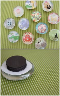 Make your own magnets. The glass pebbles are very cheap from Dollar Tree, Walmart - anywhere! ModgePodge scrapbook paper or stickers to the back of the glass and let it dry.  Magnets put on with E6000 glue, though you could hot glue them also.  Rub-on letters for initials.