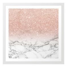 Modern faux rose pink glitter ombre white marble Art Print (1540 DZD) ❤ liked on Polyvore featuring home, home decor, wall art, modern home accessories, rose wall art, pink rose wall art, glitter wall art and modern home decor