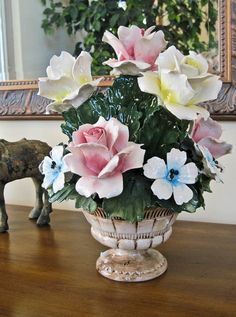 Capodimonte Large Antique Italian Porcelain Flower Basket c1771 to 1834/Valued at $85