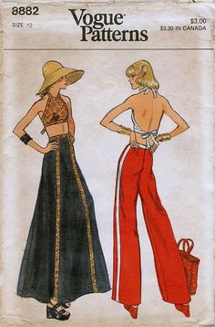 1970s Vogue 8882 Misses Halter Top Maxi Skirt Wide Leg Pants Sewing Pattern Size 12 Bust 34 UNCUT