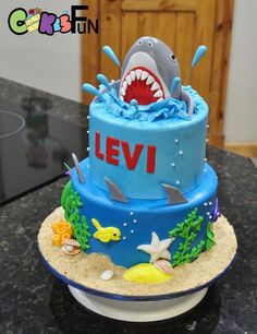 Shark cake - cake by Cakes For Fun Ocean Birthday Cakes, Ocean Cakes, Beach Cakes, 4th Birthday Cakes For Boys, 5th Birthday, Birthday Ideas, Cupcakes, Cupcake Cakes, Pool Party Cakes