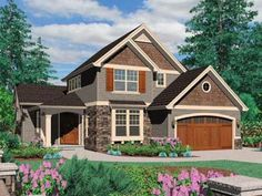 Two levels, bedrooms upstairs, craftsman style