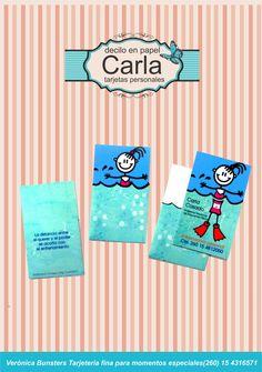 Tarjeta personal de Carla, Profesora de Educación Física especializada en natación