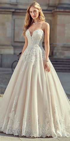 Graceful Tulle Sweetheart Neckline A-line Wedding Dress With Lace Appliques & Beadings