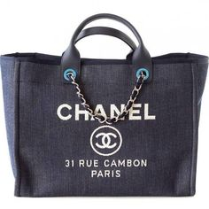 Chanel 2015 Navy Deauville Canvas Tote Bag