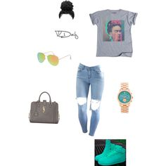 !!! by sneakerhead1500 on Polyvore featuring polyvore, fashion, style, NIKE, Yves Saint Laurent, Michael Kors and With Love From CA