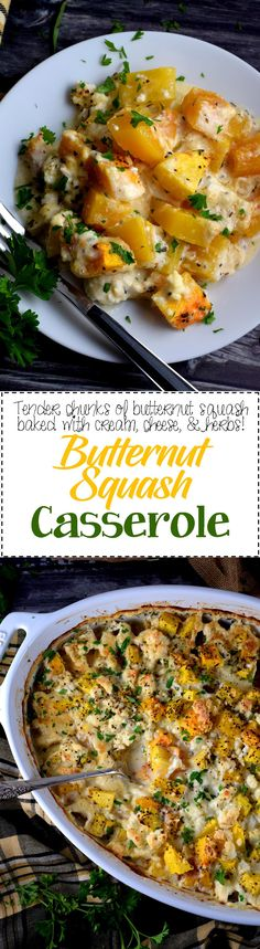 Squash Casserole - Everyone's favourite fall vegetable, butternut squash, is baked to perfection in a creamy, cheesy casserole. Butternut Squash Casserole is my new favourite comfort food! Casserole Dishes, Casserole Recipes, Frugal Meals, Easy Meals, Thanksgiving Recipes, Fall Recipes, Dinner Recipes, Simple Recipes, Lunch Recipes