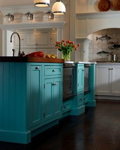Plain & Fancy - Turquoise Island in English-inspired Traditional Kitchen..  Love this!! Definitely need this!