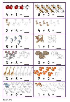 Basic Math Worksheets, Kindergarten Addition Worksheets, Kindergarten Worksheets, Preschool Lesson Plans, Preschool Math, Math Activities, Toddler Learning Activities, Math Charts, Teacher Cards