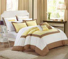 Elegant and Contemporary detailed 7-piece Comforter Set. Featured designer looking color-blocking pattern. Rope-like detail embroidery with a grand yet simplicistic modern look. #Luxbed #ChicHome #Bedding #Comforter #Yellow