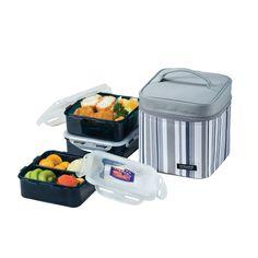 Lunch Box Set für 3 Personen HPL823DG Farbe: grau/weiß gestreift: Amazon.de: Küche & Haushalt