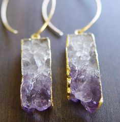 Amethyst Stalactite Druzy Earrings 14k Gold by friedasophie, $69.00