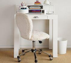 Parsons Mini Desk Hutch, Simply White at Pottery Barn Kids Upholstered Desk Chair, Parsons Desk, Mini Desk, Simple Desk, Bedroom Desk, Bedroom Toys, Small Bedrooms, Diy Bedroom, White Bedroom