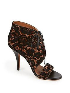 Givenchy Patti Lace-Covered Leather Lace-Up Sandals