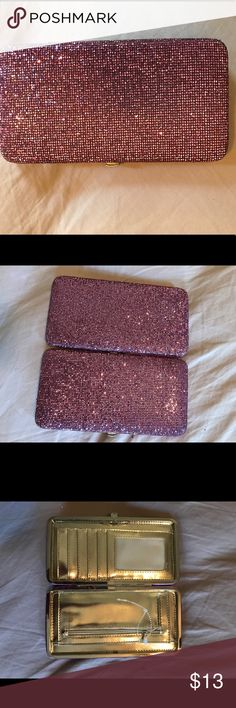 Pink glitter wallet Gold inside. Never been used. ID slot. Snap to open Other