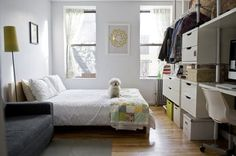 Open closet ideas for small spaces hanging clothes apartment therapy 57 Ideas Small Bedroom Hacks, Small Bedroom Organization, Home Organization, Bedroom Storage, Organizing Ideas, Bedroom Apartment, Apartment Living, Apartment Therapy, Closet Bedroom