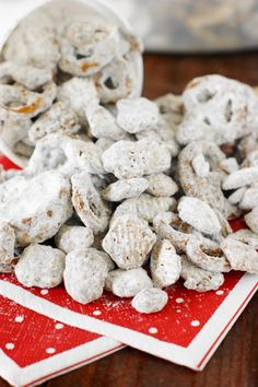 Puppy Chow {or Yuppy Chow} ~ Covered in chocolaty goodness & powdered sugar, it's a classic sweet treat ... perfect for everyday snacking or Christmas gift giving.  Freezer-friendly, too, for make-ahead convenience.   www.thekitchenismyplayground.com