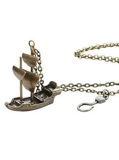 Disney Peter Pan Captain Hook Ship Necklace, , hi-res Disney Peter Pan Captain Hook Ship Necklace, , alternate PREVIOUSNEXT Enlarge DISNEY PETER PAN CAPTAIN HOOK SHIP NECKLACE