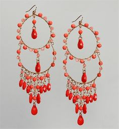 Coral Beaded Chandelier Earrings