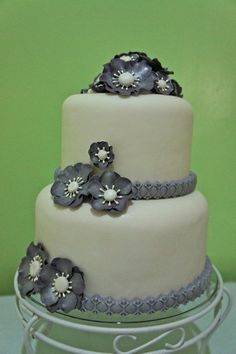 Silver Grey Themed Cake