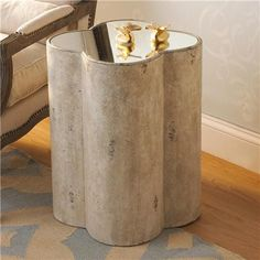 Another Great Item with the Perfect Touch of Glamour I came across from Shades of Light  Quatrafoil Mirror Top Side Table