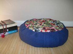 Blue Floral Zafu Meditation Cushion. Dorm/Floor Pillow. by ZafuChi