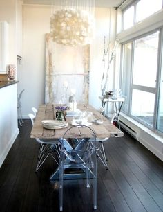 Perfect dining room. Also, this blog has a perfect high/low ghost chair comparison.