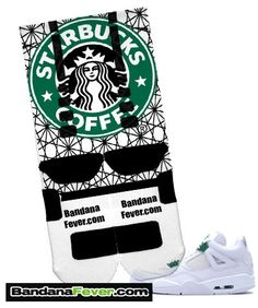 White Nike Elite Basketball Crew Socks customized with a Starbucks design on both sides of the socks.   *********** FREE SHIPPING