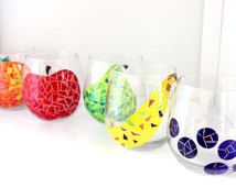 You Pick 2- Fruit Mosaic Wine Glasses