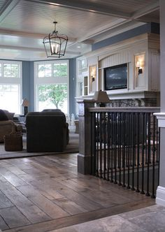 flooring aesthetic ***LOVE the way the hardwood meets the tile! The whole look with ceiling. Floor to ceiling bay window area and the wood with black metal for railings. Modern Wood Floors, Dark Wood Floors, Scraped Wood Floors, Distressed Wood Floors, Grey Wood, Home Design, Interior Design, Design Ideas, Floor Design