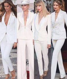White suits 🔥 which is your favourite ? White Tuxedo Wedding, White Pantsuit Wedding, Chic Outfits, Fashion Outfits, Fashion Ideas, Paris Chic, Look Girl, Tuxedo Dress, Tuxedo Suit