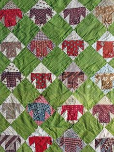 "Antique doll quilt, 3"" blocks, model for a kit available at Two Thimbles Quilt Shop, Bellingham, WA.  Galloping Pony Studio blog"
