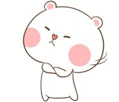TuaGom : Puffy Bear by Tora Jung sticker Cute Bunny Cartoon, Cute Cartoon Pictures, Cute Couple Cartoon, Cute Love Cartoons, Bear Cartoon, Chibi Cat, Cute Chibi, Cute Bear Drawings, Cute Patterns Wallpaper