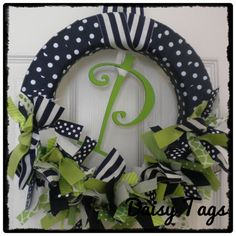 Baby Boy Ribbon Wreath in Navy Blue & Lime Green for hospital door hanger, baby shower, bridal shower, birthday party. $40.00, via Etsy.