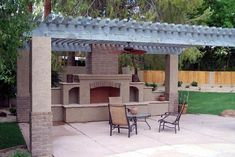 I like this pergola and fireplace look