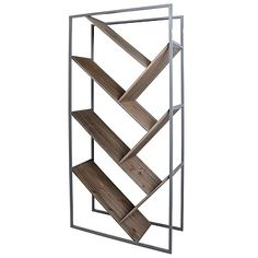 Diagonal Graywashed Wood and Metal Bookcase