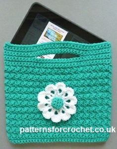 "With a finished size of approx 9"" wide x 8"", this crochet tablet bag pattern is suitable for Kindle, IPad, E-Reader, etc."