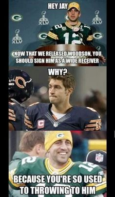 Packers humor, even though I am a Jay Cutler fan Packers Funny, Funny Nfl, Packers Baby, Go Packers, Funny Sports Memes, Packers Football, Sports Humor, Green Bay Packers, Packers Memes