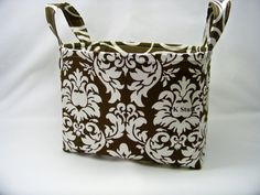 PK Fabric Basket in Dandy Damask in Brown  Storage by PKStuff, $14.50