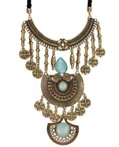 Maxi colar dourado pedra turquesa e cordão preto Rami