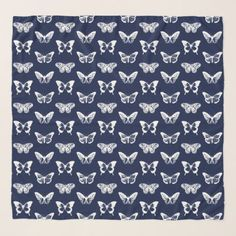 Butterfly sketch navy blue and white scarf - unusual diy cyo customize special gift idea personalize