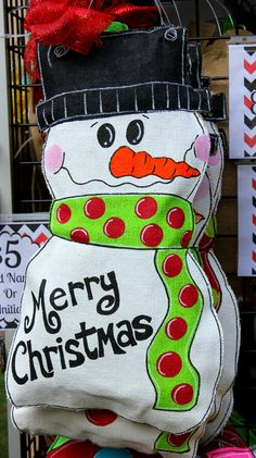 Snowman Christmas Burlap Door Hanger by MustLoveArtStudio on Etsy, $35.00