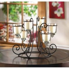 Black Wrought Iron Candle Holder Centerpiece 6 Glass Cups Tealight Candleholder  #HomeLocomotion